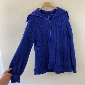 Free People Cobalt Cable Knit Pullover Sweatshirt